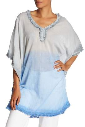 AMERICA & BEYOND Blue and Gray Ombre Dye Fringed Kaftans