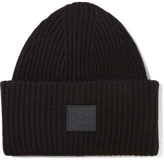 Acne Studios Pansy Appliquéd Ribbed Wool Beanie - Black