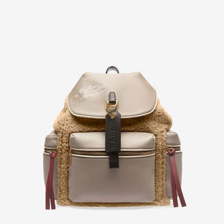 Bally Crew Neutral, Women's grained leather and fabric backpack in bone