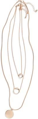 BP 3-Pack Circle Pendant Necklaces