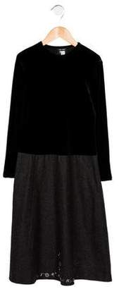 David Charles Girls' Embroidered Contrast Dress