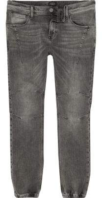 River Island Mens Grey wash Ryan jogger jeans