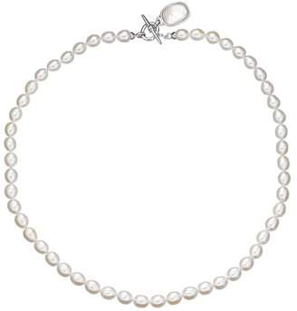 Mother of Pearl Freshwater By Honora Freshwater by HONORA Freshwater Cultured Pearl & Mother-of-Pearl Sterling Silver Toggle Necklace