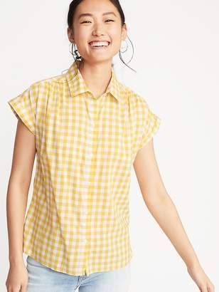 Old Navy Button-Front Gingham Shirt for Women