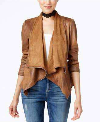 INC International Concepts Draped Faux-Leather Jacket, Only at Macy's $119.50 thestylecure.com