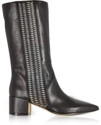 Rodo Black and Silver Woven Leather Pointed Toe Mid Heel Boots