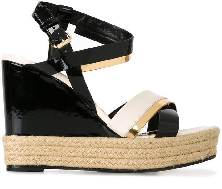 Lanvin patent wedge sandals