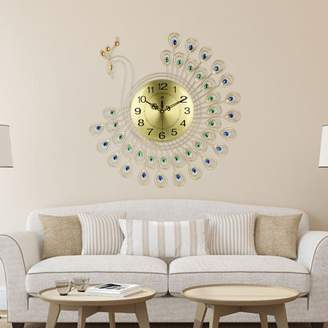 Kadell 21 inch Slient 3D Large Diamonds Decorative Gold Jewellery Peacock Luxury Modern Creative Wall Clock Metal Watch Wall Art Home Decor Crafts For Home Living Room Gift