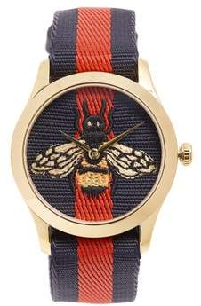 Gucci G Timeless Web Striped Watch - Mens - Gold