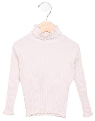 Il Gufo Girls Rib Knit Turtleneck Top