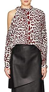 Robert Rodriguez Women's Leopard-Print Silk Cold-Shoulder Blouse