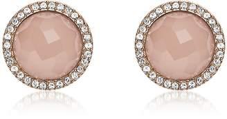 Fossil Pink Stone Rose Gold Tone Stud Women's Earrings