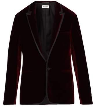 Saint Laurent Satin Trimmed Velvet Jacket - Mens - Red