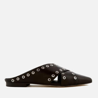 Sol Sana Women's Cross Leather Pointed Flats - Black Eyelet