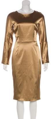 Dolce & Gabbana Long Sleeve Satin Dress Tan Long Sleeve Satin Dress