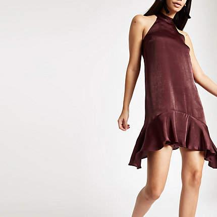 Womens Dark Red halter neck swing dress