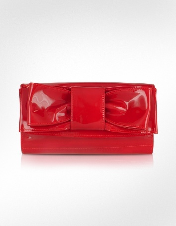 Ghibli Front Bow Red Patent Leather Clutch Bag