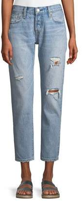 Levi's Premium 501 Taper Light-Wash Distressed Straight-Leg Jeans