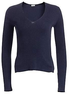 Akris Punto Women's Ribbed V-Neck Long Sleeve Top