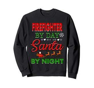 Firefighter By Day Santa By Night Funny Christmas Santa Tees