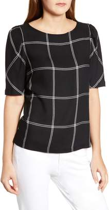 Vince Camuto Puff Shoulder Windowpane Top