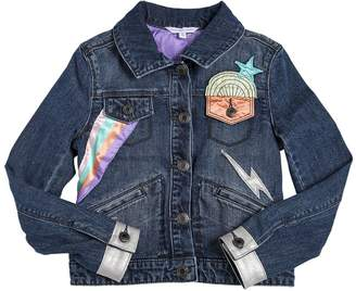 Little Marc Jacobs Stretch Denim Jacket W/ Satin Patches