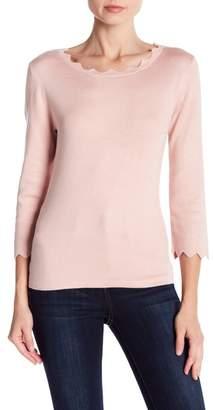 Philosophy Apparel Scallop 3\u002F4 Sleeve Sweater