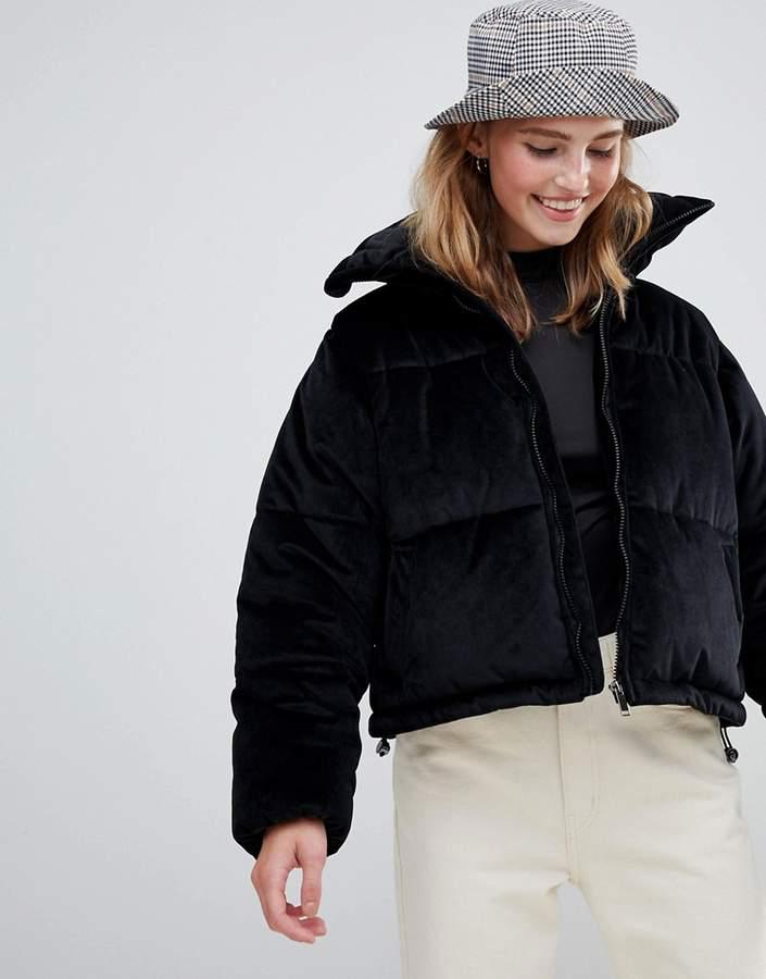 ramblin padded coat in velvet