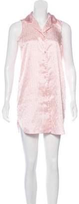 Halston Printed Sleeveless Mini Dress Pink Printed Sleeveless Mini Dress