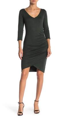 Free Press Deep V-Neck Ruched Dress
