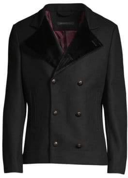 John Varvatos Contrast-Lapel Pea Coat
