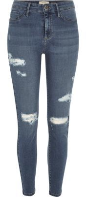 River IslandRiver Island Womens Mid blue wash ripped Molly jeggings