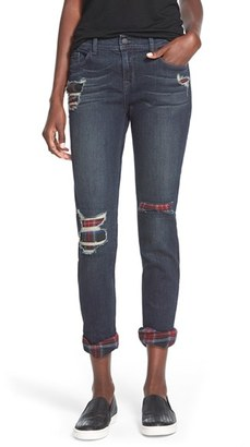 Junior Women's Sp Black Plaid Lined Girlfriend Jeans $58 thestylecure.com