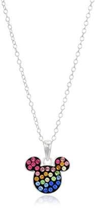 Disney Sterling Rainbow Crystal Mickey Pendant Necklace