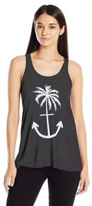 Clementine Apparel Women's Anchor Palm Flowy Racerback Tank Top