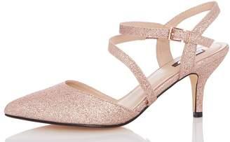 Quiz Rose Low heel Court Shoes