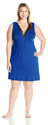 Arabella Women's Plus Size Chemise with Lace Neckline