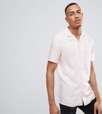 Asos DESIGN Tall Regular Fit Viscose Shirt With Revere Collar In Pink