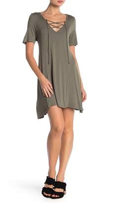 BCBGeneration V-Neck Lace-Up Dress