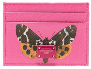 Dolce & Gabbana Butterfly Print Leather Card Holder - Womens - Pink Multi