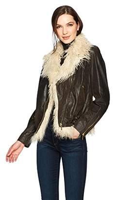 True Religion Women's Faux Fur Leather Moto Jacket