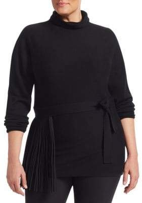 Marina Rinaldi Marina Rinaldi, Plus Size Azteco Wool Fringed Belt Sweater