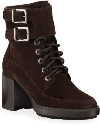 Aquatalia Irene Weatherproof Buckle & Lace-Up Suede Booties
