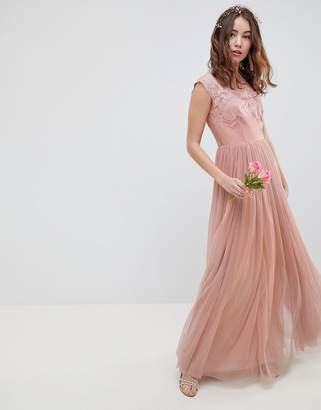 Asos Design Bridesmaid Embroidered Mesh Maxi Dress