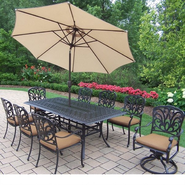 Oakland Living Corporation Sunbrella Aluminum 11-piece Dining Set with Umbrella and Stand