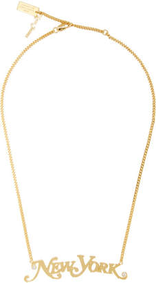 Marc Jacobs Gold New York Magazine Edition The Nameplate Pendant NY Necklace