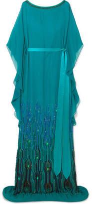 Jenny Packham Embellished Chiffon Gown - Teal