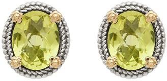 Sterling Silver & 14K Oval Gemstone Post Earrings