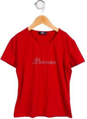 Miss Blumarine Girls' Embellished Short Sleeve Top