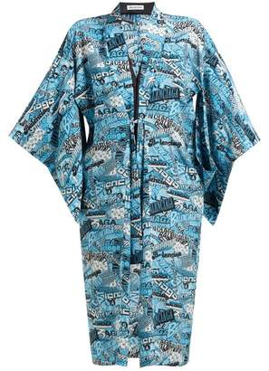 Balenciaga Logo Print Silk Crepe De Chine Kimono Style Dress - Womens - Blue Multi